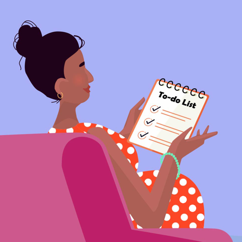 Woman looking at her to-do list